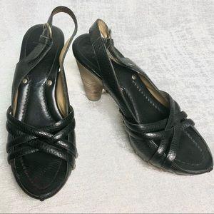 Frye Reese Multi Sling Leather Wood Stack Heels